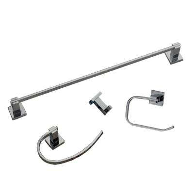 Contempo 4-Piece Bathroom Hardware Accessory Set in Brushed Nickel