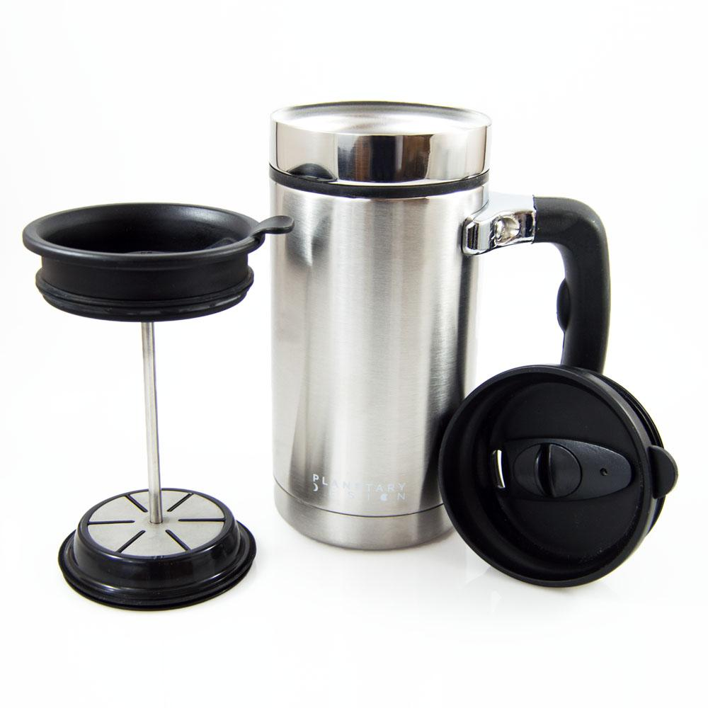 Desk Press 3 Cup French Press In Stainless Steel, Brushed Stainless Steel