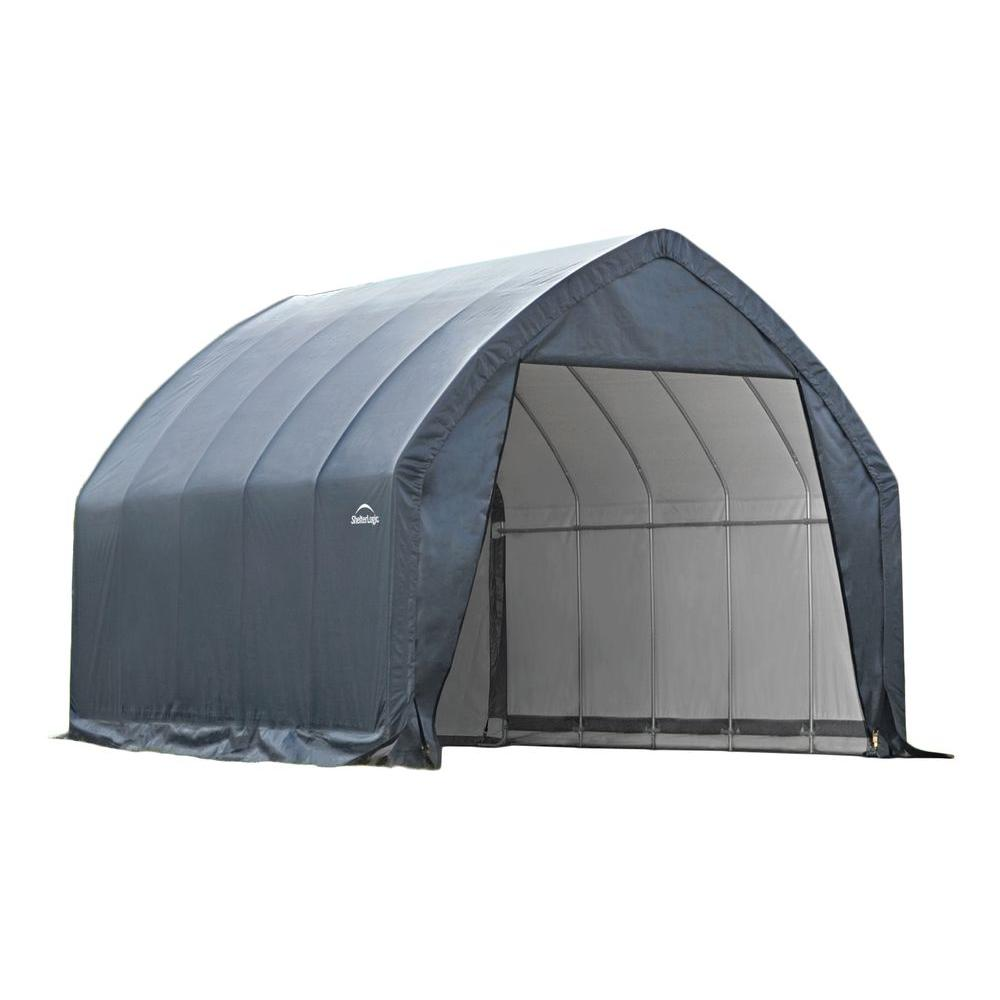 Portable Garages For Sale >> Shelterlogic 13 Ft W X 20 Ft D X 12 Ft H Alpine Style Garage In A Box With Advanced Engineered Fabric And Easy Slide Rail System