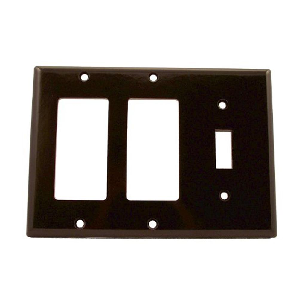 Leviton 3 Gang Standard Size Plastic Combination Wall Plate Brown