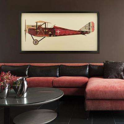 "25 in. x 48 in. ""Antique Biplane #2"" Dimensional Collage Framed Graphic Art Under Glass"