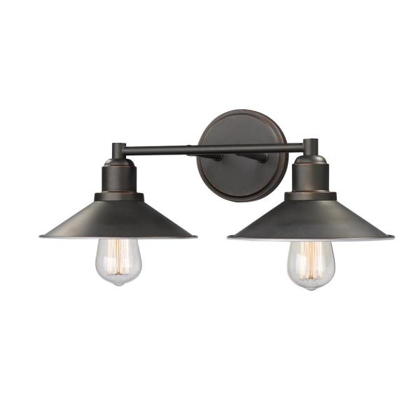 Cortez 2-Light Olde Bronze Bath Light with Olde Bronze Steel Shade