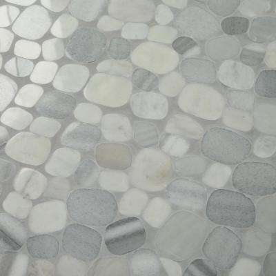 Stone Decor Shadow 12 in. x 12 in. x 10 mm Marble Pebble Mosaic Floor and Wall Tile (0.95 sq. ft./ piece)