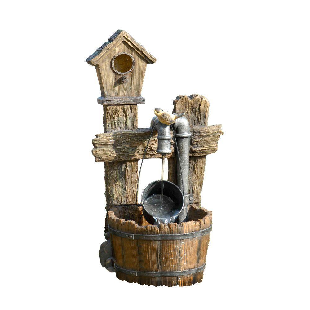 Bird House Outdoor Water Fountain