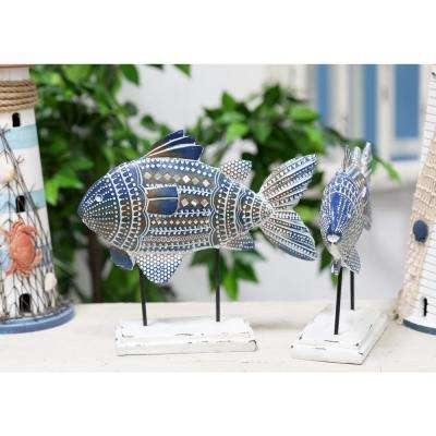 Fish Polystone Sculpture with Blue Tribal Details (Set of 2)