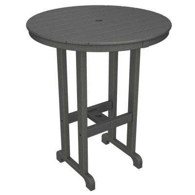 La Casa Cafe Slate Grey 36 in. Round Plastic Outdoor Patio Bar Table
