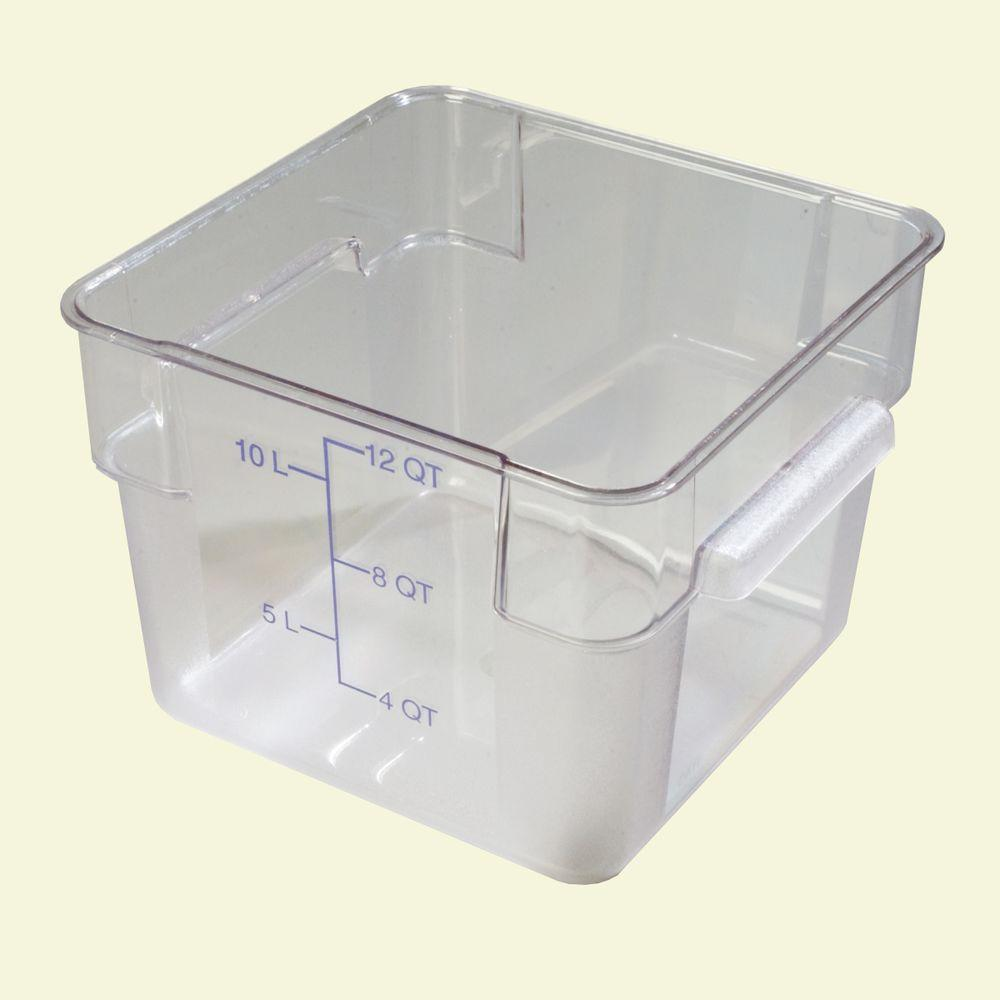12 qt. Polycarbonate Square Food Storage Container in Clear, Lid not