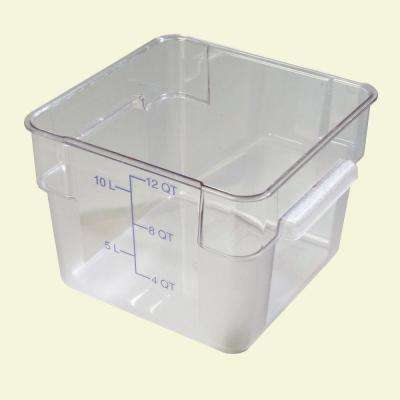 12 qt. Polycarbonate Square Food Storage Container in Clear, Lid not Included, (Case of 6)
