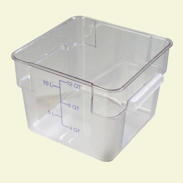 Carlisle 12 qt. Polycarbonate Square Food Storage Container in Clear, Lid