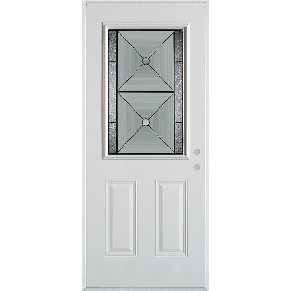 Stanley Doors 37.375 in. x 82.375 in. Bellocchio Patina 1/2 Lite 2-Panel Painted White Left-Hand Inswing Steel Prehung Front Door
