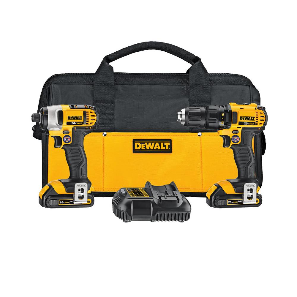 DeWalt 20-Volt MAX Lithium-Ion Cordless Drill/Impact Combo Kit (2-Tool) with (2) Batteries 1.5Ah, Charger and Tool Bag