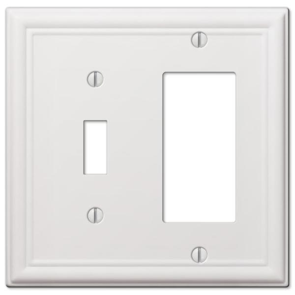 Ascher 2 Gang 1-Toggle and 1-Rocker Steel Wall Plate - White