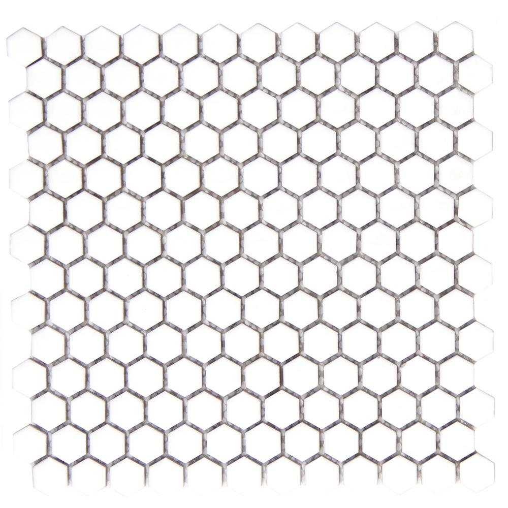 Confetti White 11.81 in. x 11.81 in. x 8mm Porcelain Mesh-Mounted
