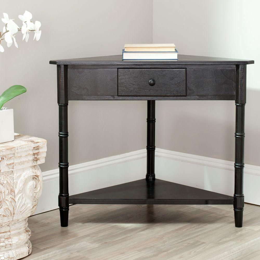 Ordinaire Safavieh Gomez Distressed Black Storage Console Table
