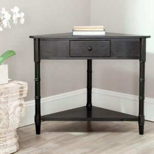 Gomez Distressed Black Storage Console Table