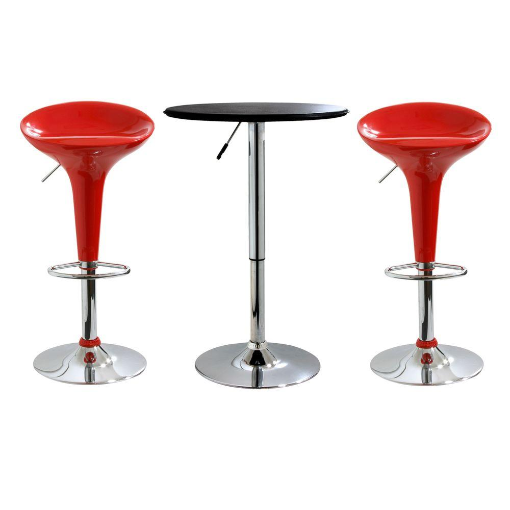 AmeriHome Red Bar Stool Set with Black Table (2-Piece)-DISCONTINUED