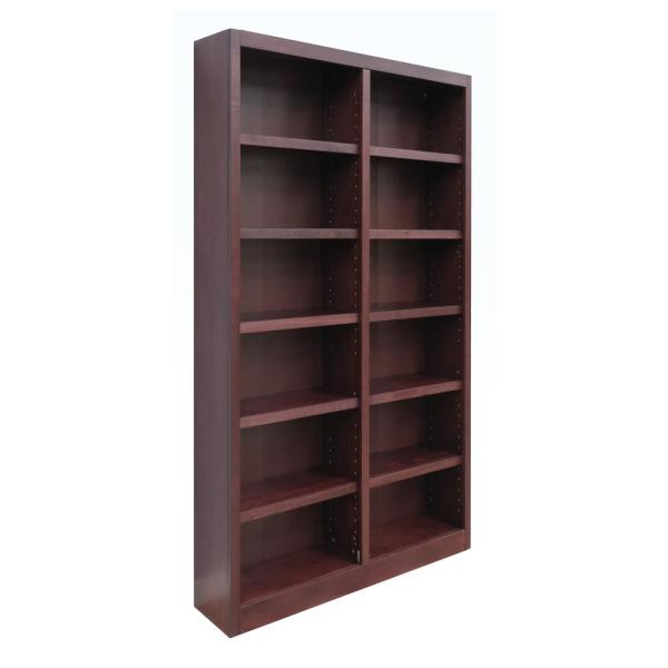 Midas Double Wide Wood Bookcase, 12 Shelves, 84 in. H, Cherry Finish