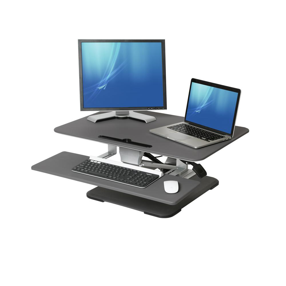 Seville Classics Airlift Gray 30 Height Adjustable Standing Desk
