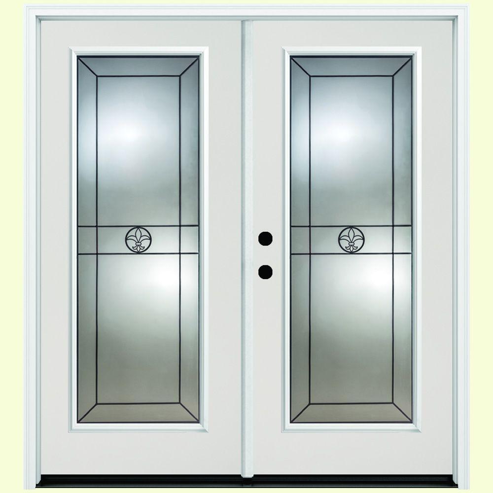 68 in. x 80 in. Orleans White Primer Prehung Primed Right-Hand Inswing Full Lite Fiberglass Patio Door