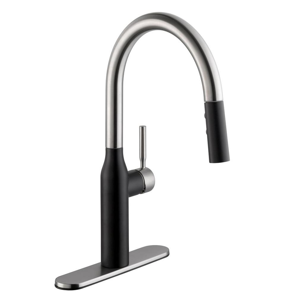 Glacier Bay Contemporary Single Handle Pull Down Sprayer Kitchen Faucet In Dual Finish Stainless
