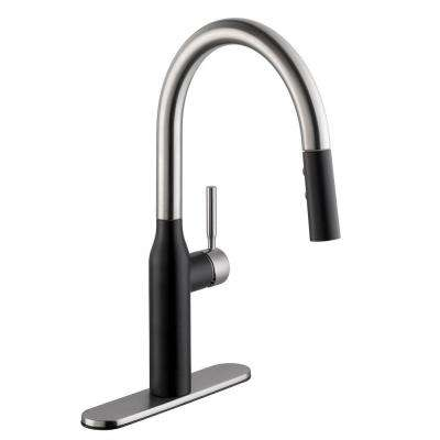 Contemporary Single-Handle Pull-Down Sprayer Kitchen Faucet in Dual Finish Stainless Steel and Matte Black