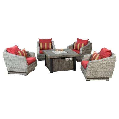 Cannes 5-Piece Patio Fire Pit Seating Set with Cantina Red Cushions