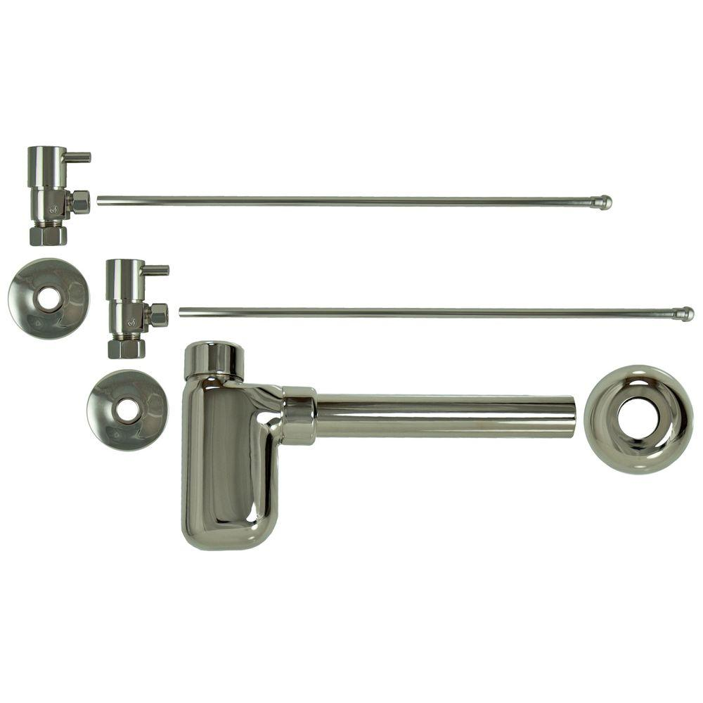 3/8 in. x 20 in. Brass Lavatory Supply Lines with Lever Handle Shutoff Valves and Decorative Trap in Polished Nickel Barclay provides all your essential bathroom needs. Replace unsightly plumbing under your exposed sink with this decorative lavatory trap and supplies. Enjoy the convenience of accessible water shut-off. Color: Polished Nickel.