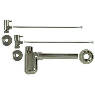 3/8 in. x 20 in. Brass Lavatory Supply Lines with Lever Handle Shutoff Valves and Decorative Trap in Polished Nickel