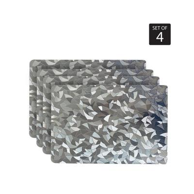 Metallic Leaf 18 in. x 12 in. Grays Vinyl Placemats (Set of 4)
