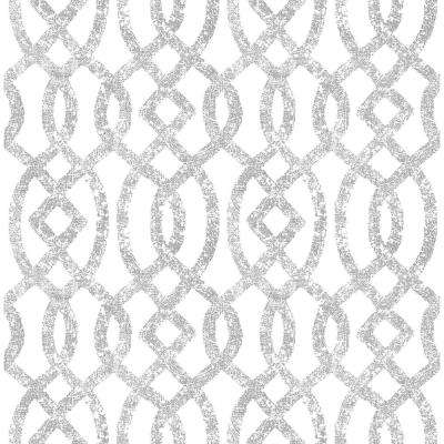 8 in. x 10 in. Ethereal Silver Trellis Wallpaper Sample