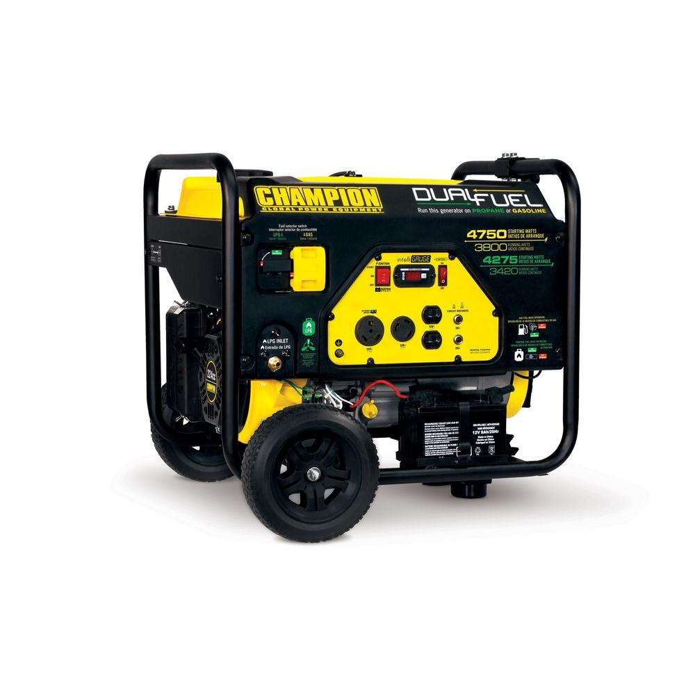 champion power equipment 3800watt dual fuel gasolinelpg portable the home depot