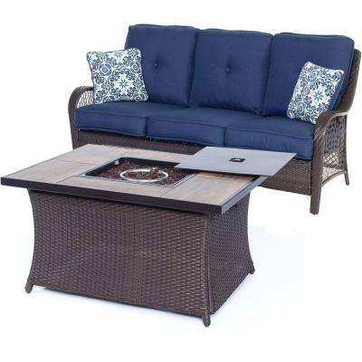 Orleans 2-Piece All-Weather Wicker Patio Woven Fire Pit Seating Set with Navy Blue Cushions