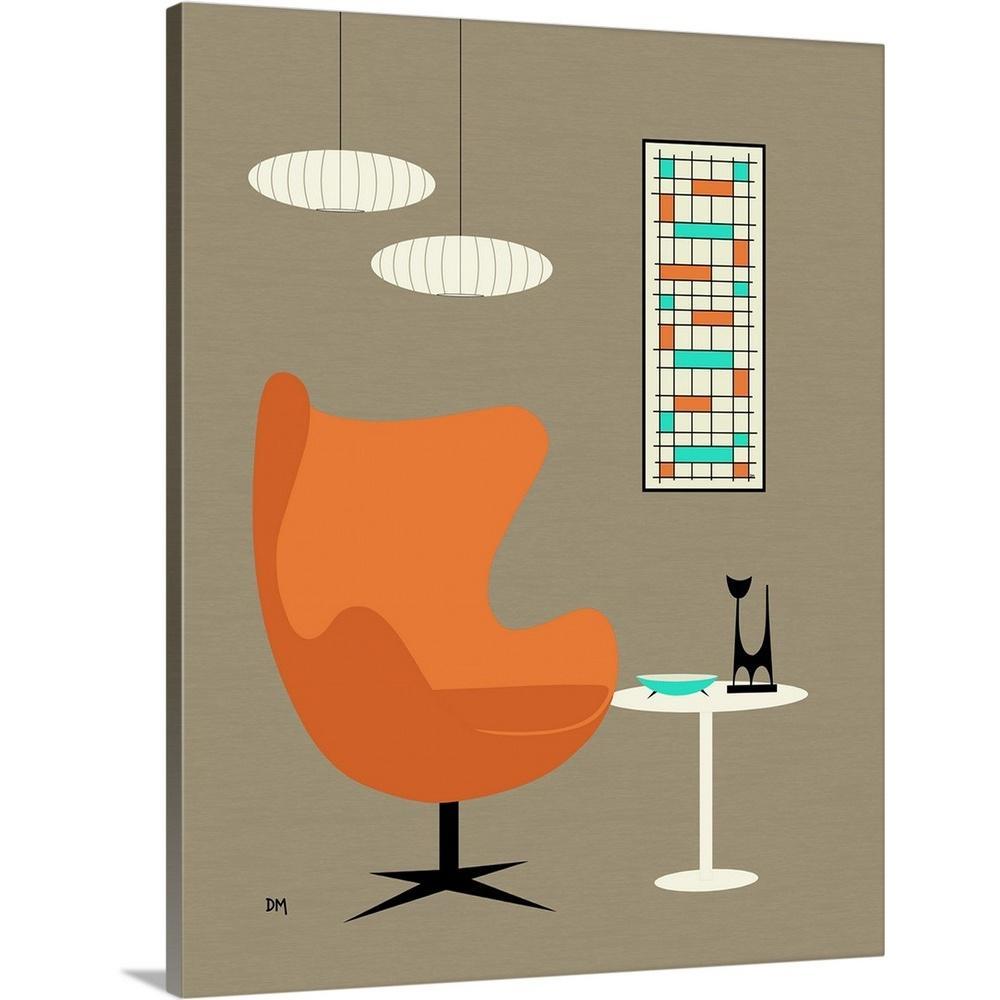 Donna Mibus Art Print Mid Century Modern Egg Chair Orange Dog Diamonds