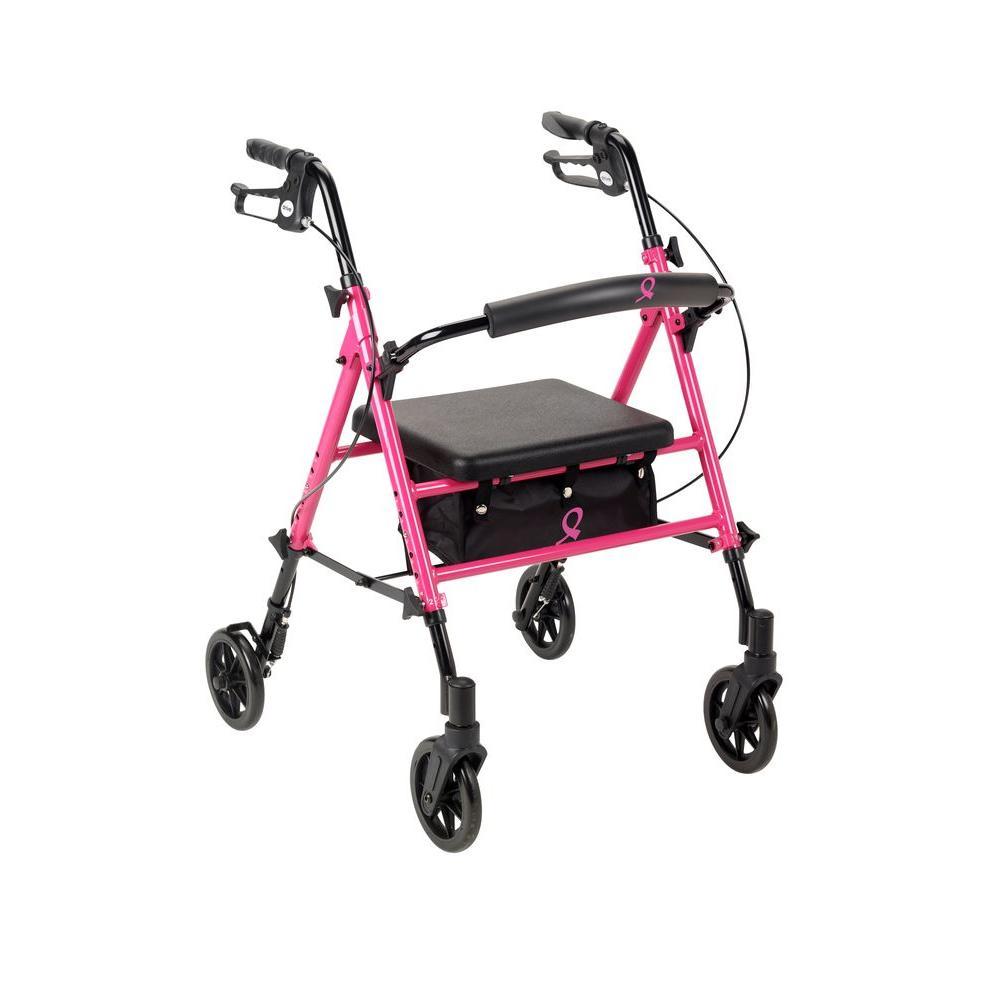 Breast Cancer Awareness 4-Wheel Adjustable Rollator in Pink