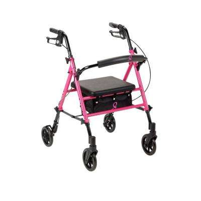 Breast Cancer Awareness 4-Wheel Adjustable Rollator in Pink