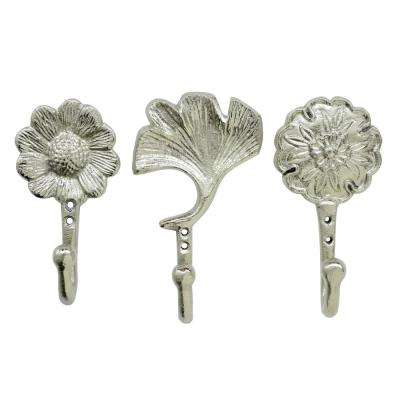 6.5 in. Wall Hooks in Silver (Set of 3)
