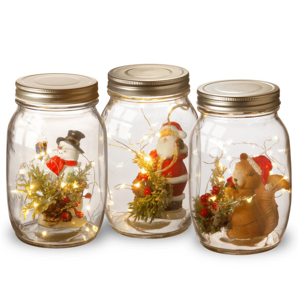 Holiday Accent Mason Jar Ortment With Lights