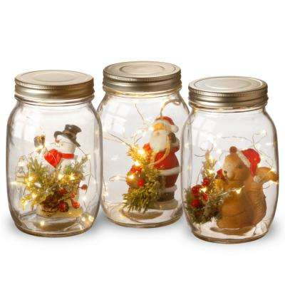 Assortment of 3 - 6.75 in. Holiday Accent Mason Jar Assortment with Lights
