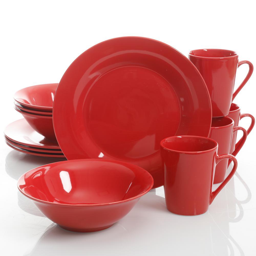 Gibson Home Carlton 12 Piece Dinnerware Set (Red)