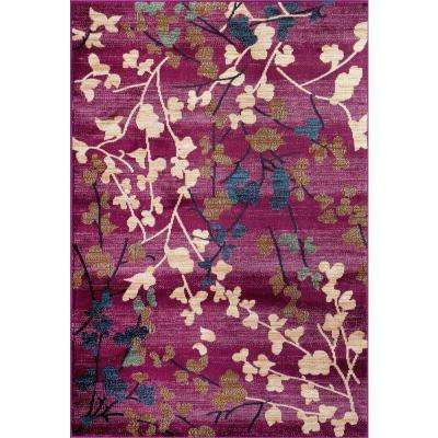 Contemporary Floral Purple 5 ft. 3 in. x 7 ft. 3 in. Indoor Area Rug