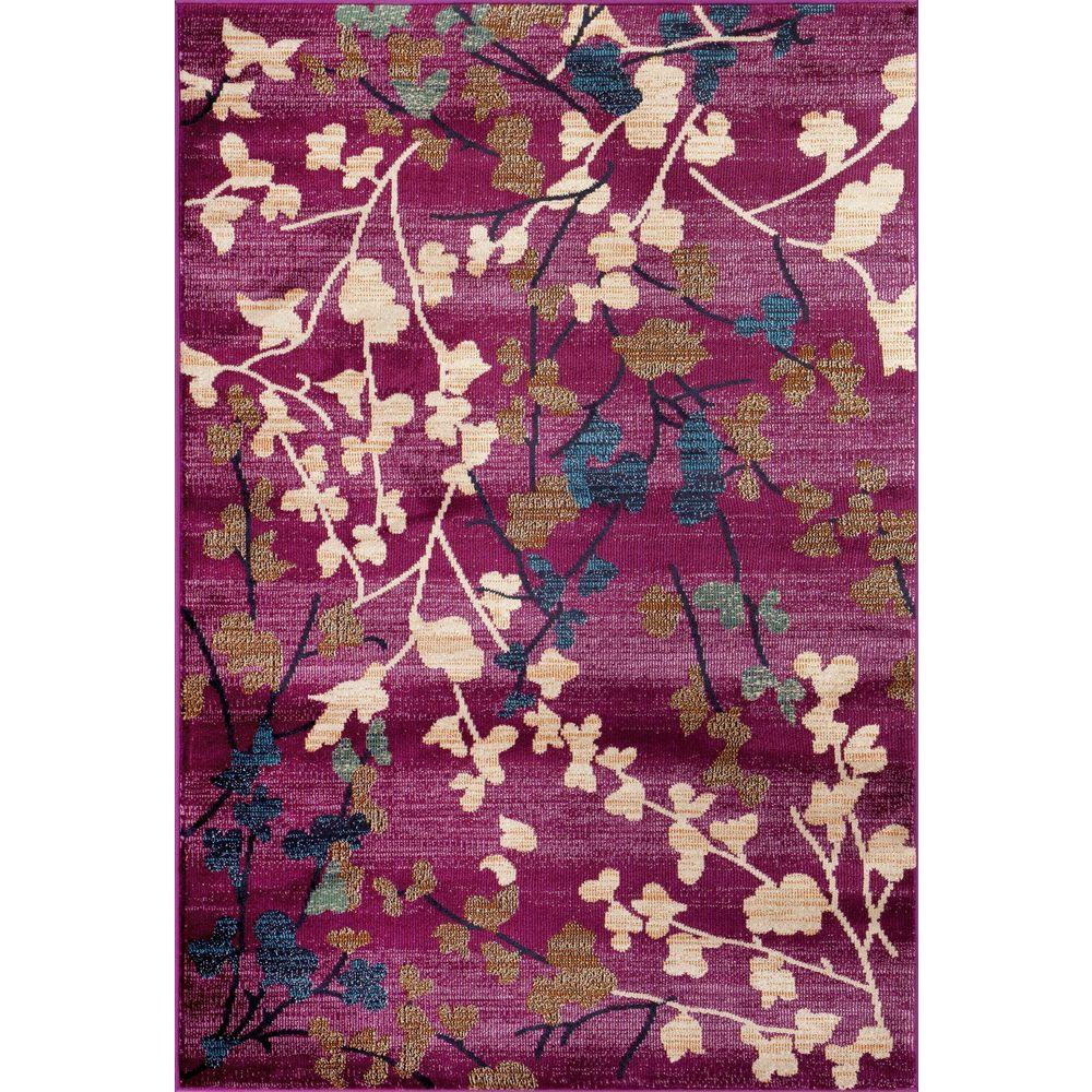 World Rug Gallery Contemporary Floral Purple 8 Ft. X 10 Ft. Indoor Area Rug