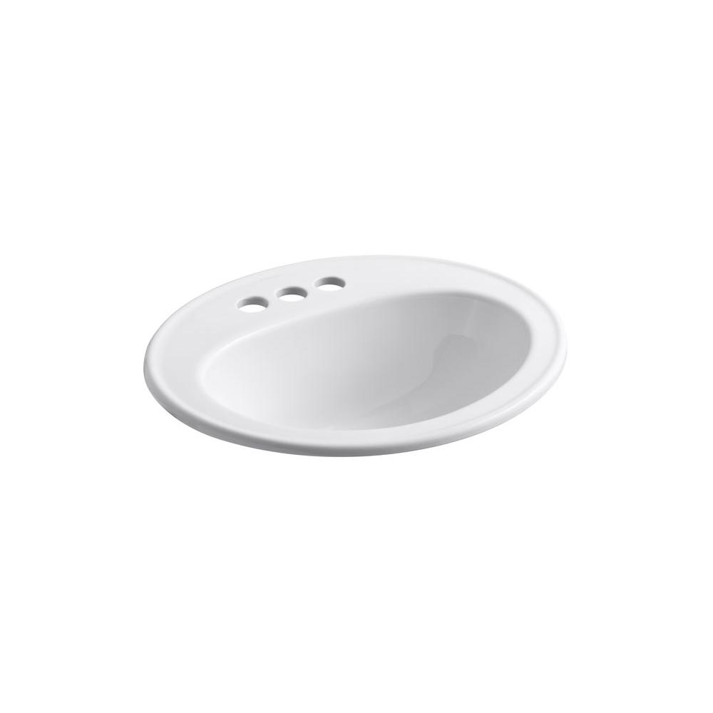 Pennington Drop-In Vitreous China Bathroom Sink in White with Overflow Drain