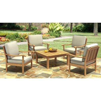 Natural White Oakwood 5-Piece Outdoor Dining Set with Gray Cushion