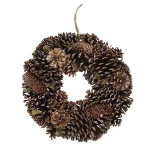 Northlight 14 In Unlit Lightly Frosted Cornucopia Artificial Christmas Wreath With Berries And Pine Cones 32635079 The Home Depot