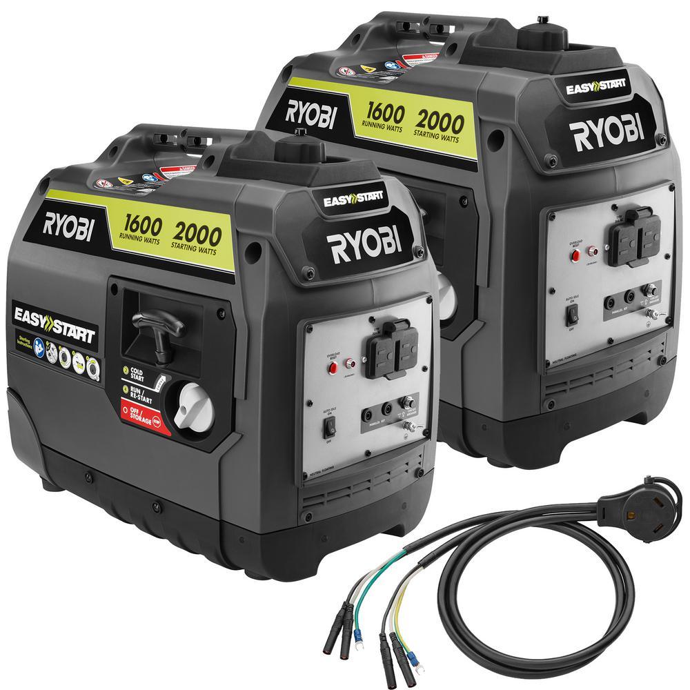 2,000-Watt Gray Gasoline Powered Digital Inverter Generator with Parallel Combo Kit