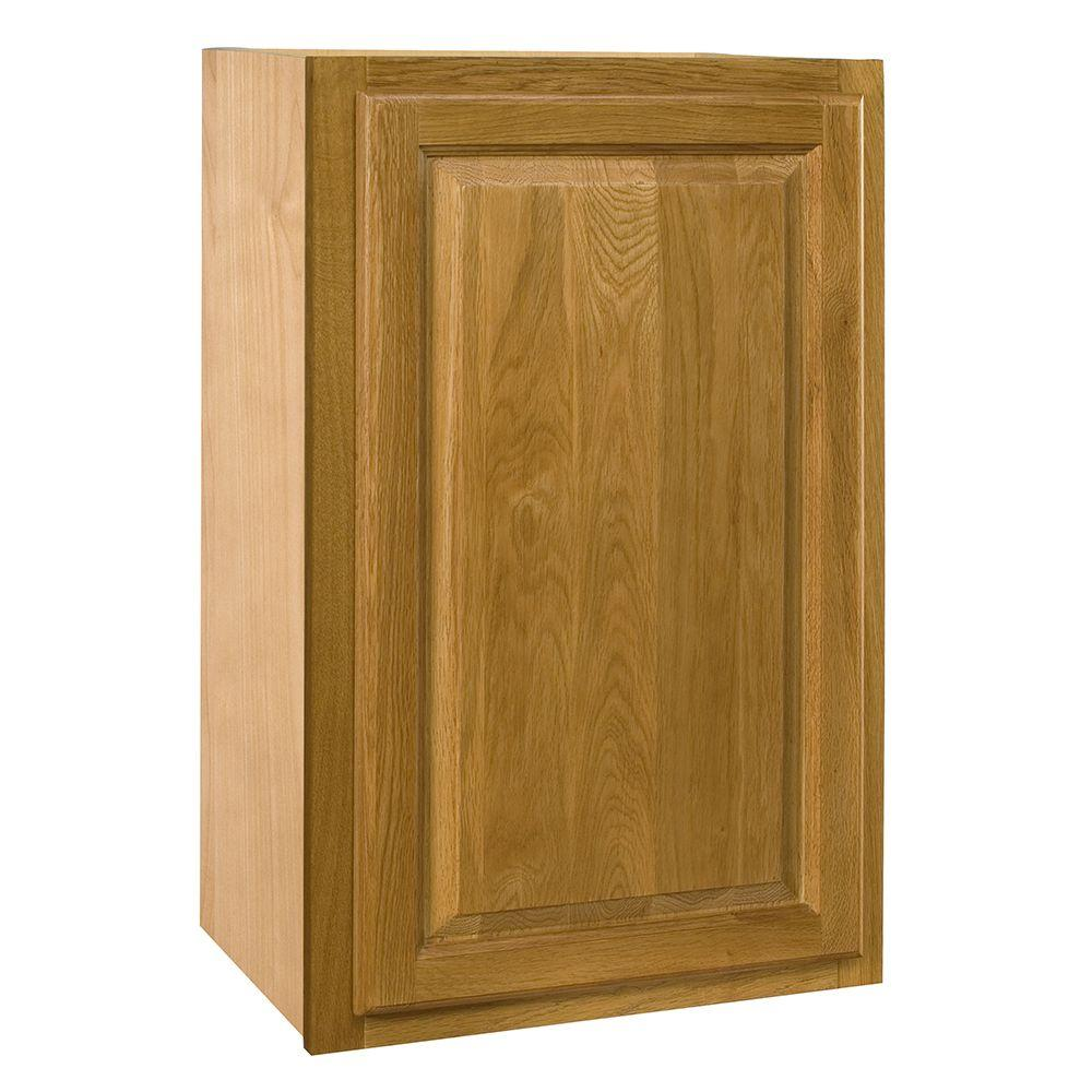 Home Decorators Collection Assembled 15x30x12 in. Wall Single Door Cabinet in Weston Light Oak