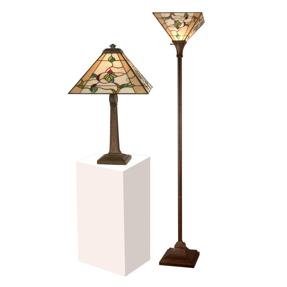 Schofield Mission Antique Bronze Verde Table Lamp With 72 In. Antique  Bronze Verde Torchiere Lamp TC11174   The Home Depot