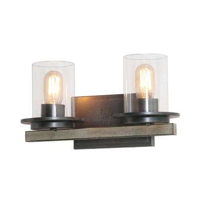 2-Light Dark Grey Vanity Wall Sconces Clear Glass Bath Light