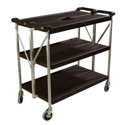 350 lb. Black Large Fold 'N Go Heavy-Duty 3-Tier Collapsible Utility Cart and Portable Service Transport