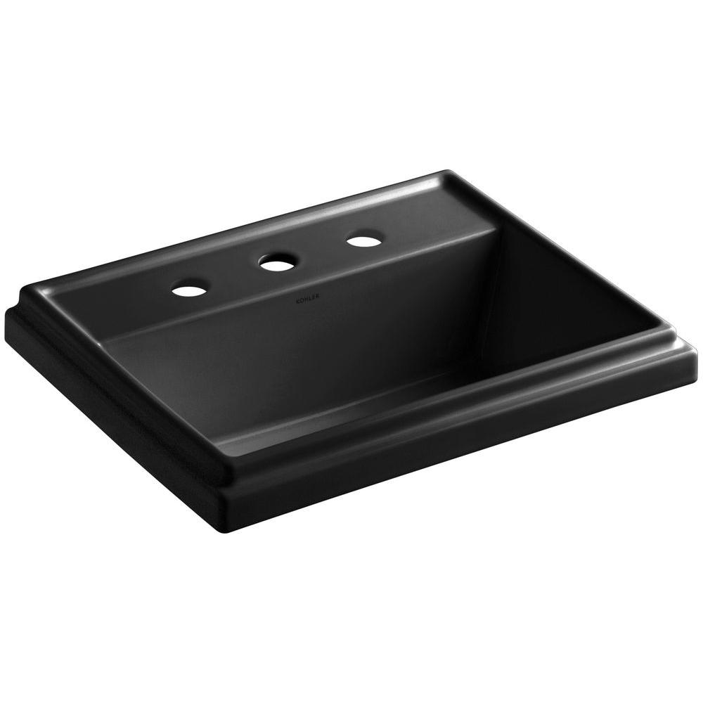 Kohler Tresham Drop In Vitreous China Rectangular Bathroom Sink In Black Black With Overflow